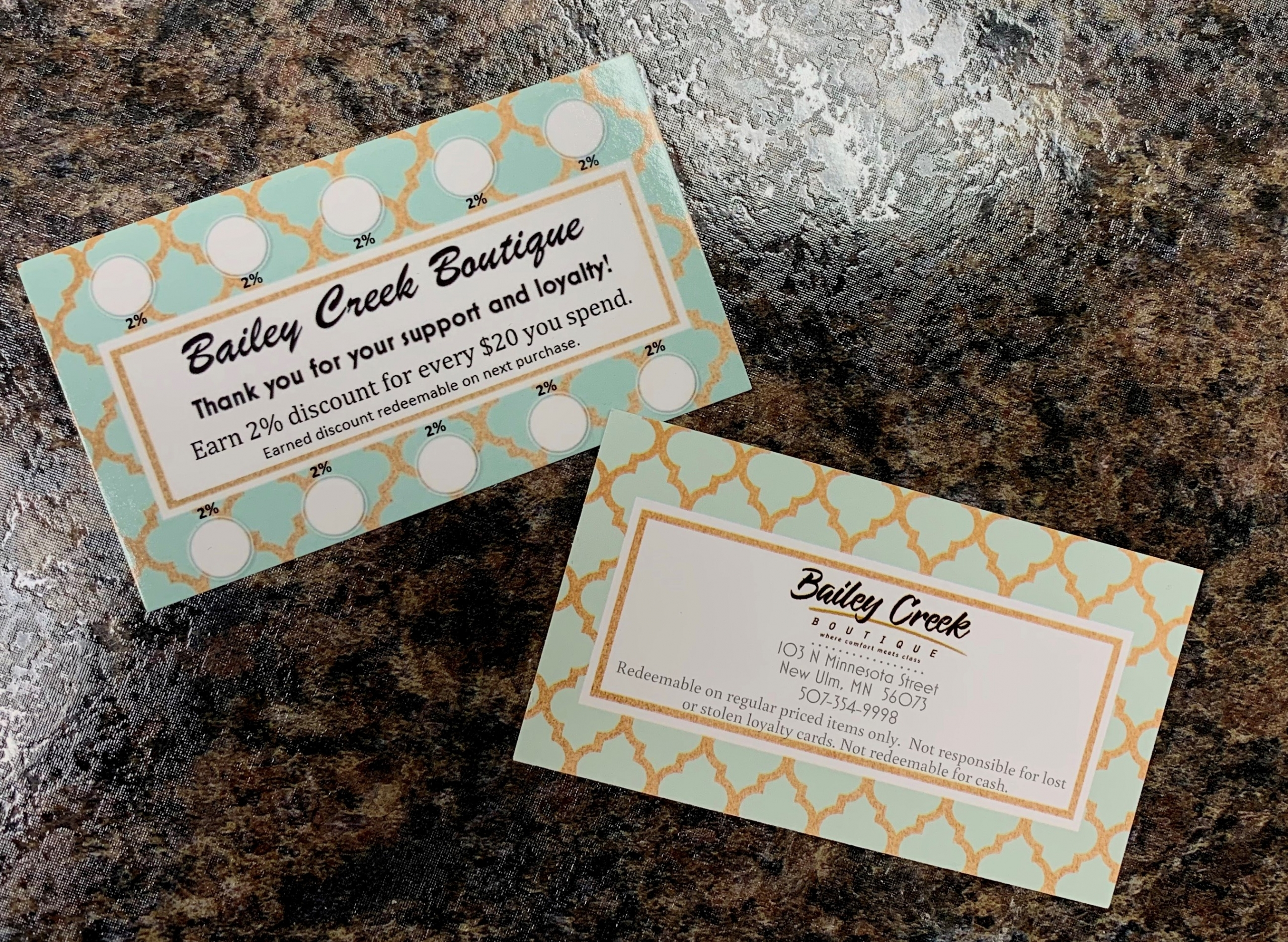 Bailey Creek Boutique Loyalty Card